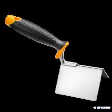 Кельма угловая, внешняя, 8 х 6 х 6 см, нержавеющая сталь, ручка 2К HARDY