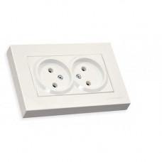 Розетка двойная с/з в 1 коробку, 16А, RITA, Mutlusan, белый