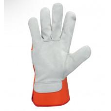 Перчатки комбинированные ДОЛОНИ (спилок оранжевая ткань)