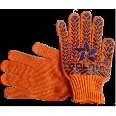 Перчатки рабочие ДОЛОНИ трикотажные оранжевые со звездой ПВХ